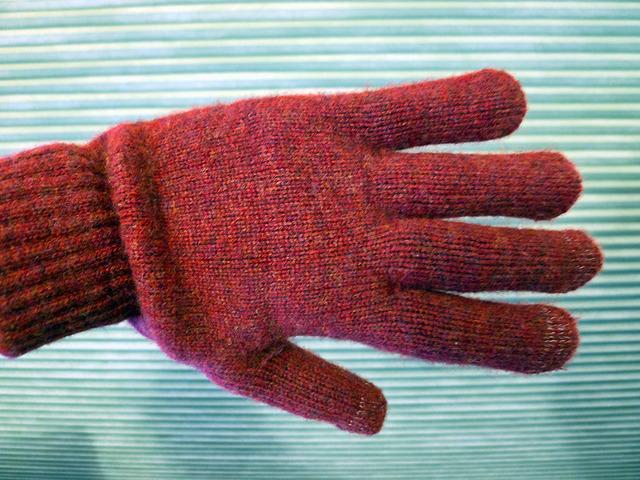 Dots Gloves Brick Merino Lambswool